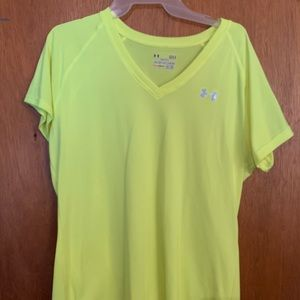 Bright yellow under armour dri fit v-neck
